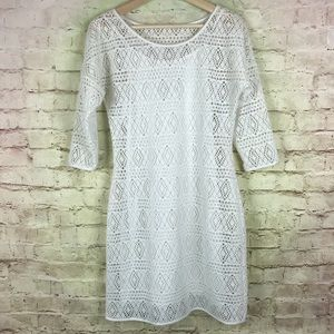 Express Laser Cut Mesh Dress Size Medium White